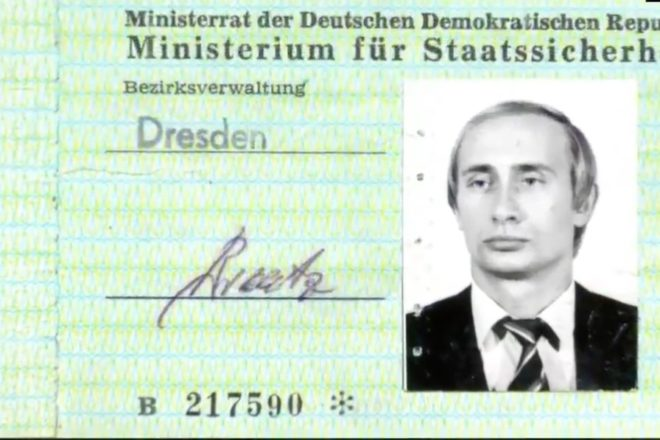Putin's Stasi pass found in archives