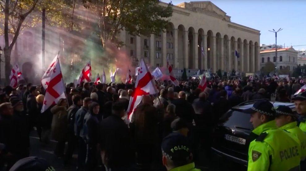 Georgia police break up anti-govt protests