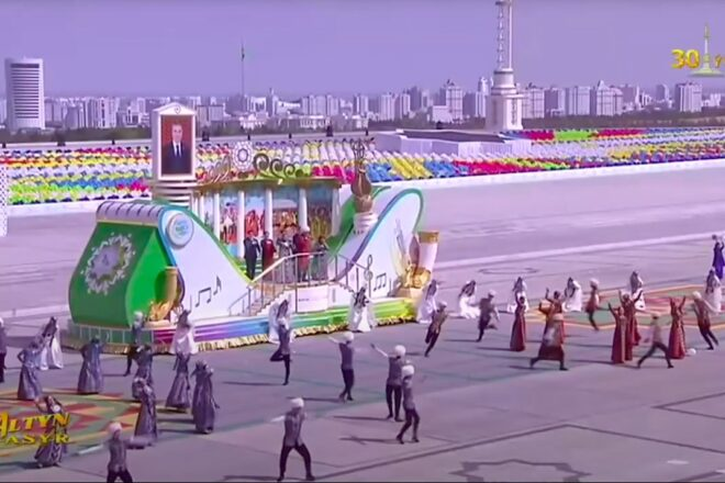 Turkmenistan honours dogs and horses during 30th independence parade